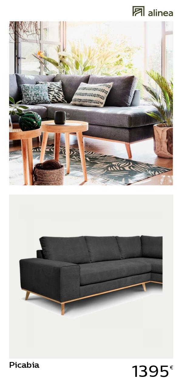 Alinea Picabia Canape D Angle Fixe Droit En Tissu Anthracite Canapes Tous Les Canapes Canapes D Angle Ali Meuble Deco Canape Angle Mobilier De Salon