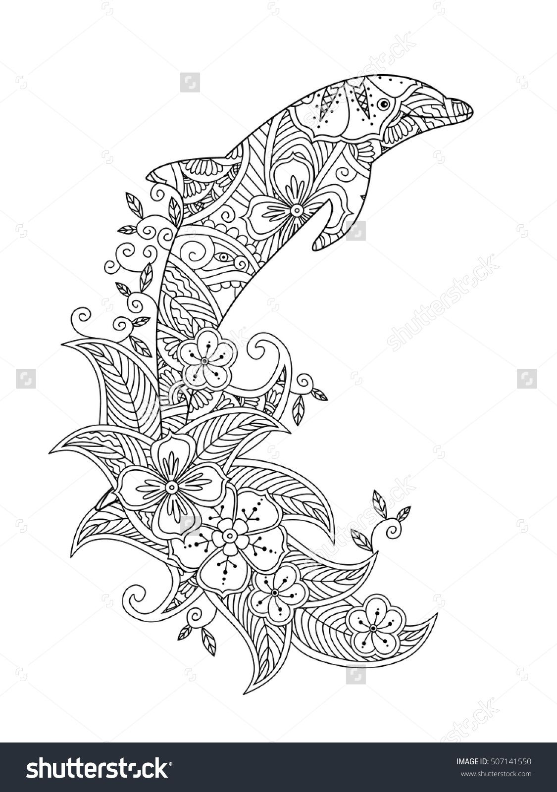 Coloring page with ornate jumping dolphin on floral waves. Vertical ...