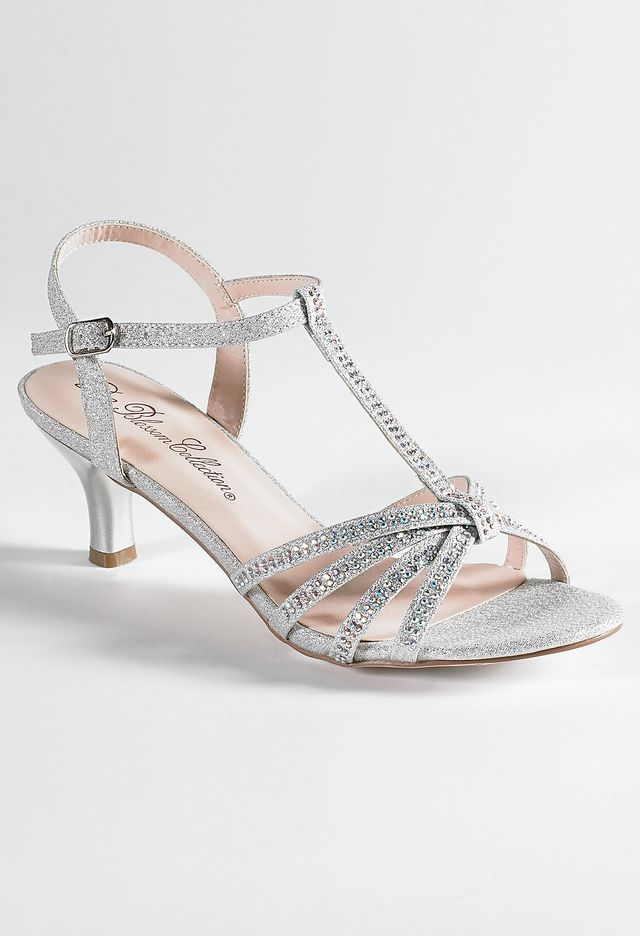 Low Heel Rhinestone Sandal From Camille La Vie And Group Usa Jr Bridesmaid Shoes Bridal Shoes Low Heel Silver Wedding Shoes Homecoming Shoes