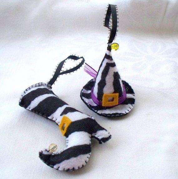 Felt Halloween Ornaments Animal Print Witch Hat by WhisperingOak