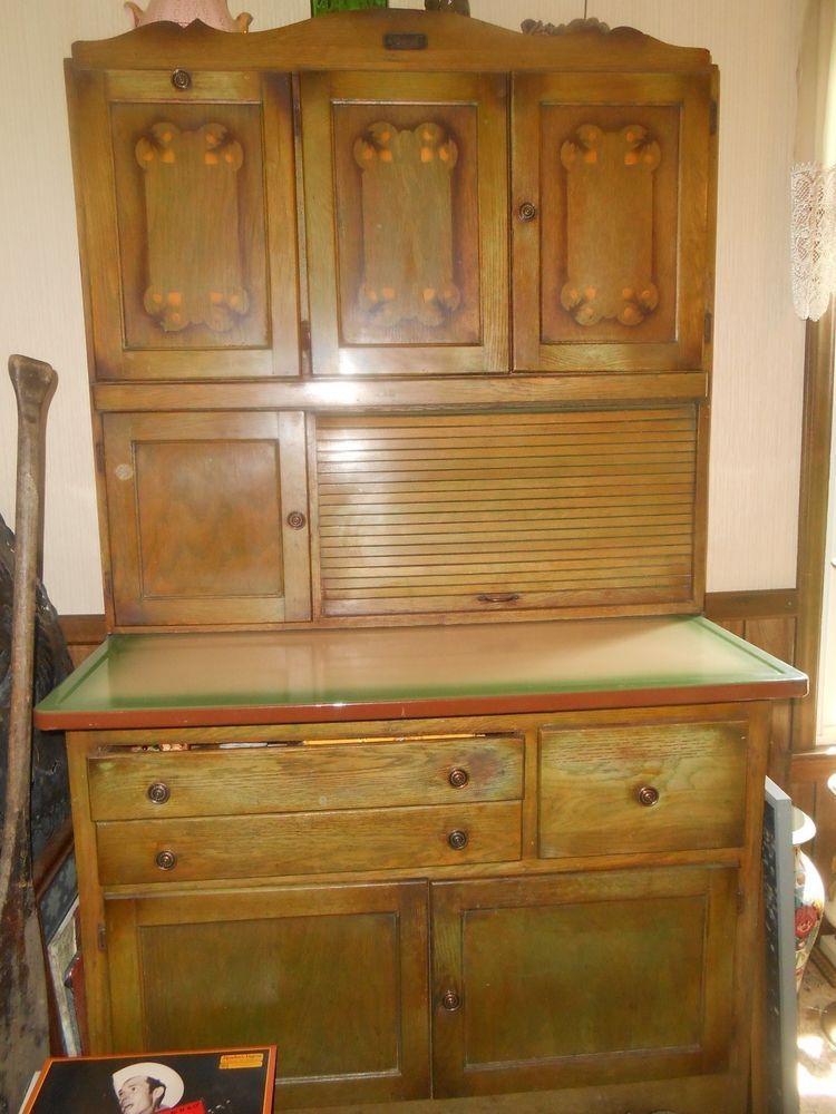 Antique Marsh Hoosier Cabinet High Point Nc Stenciled Tambour Door Enamel  Top