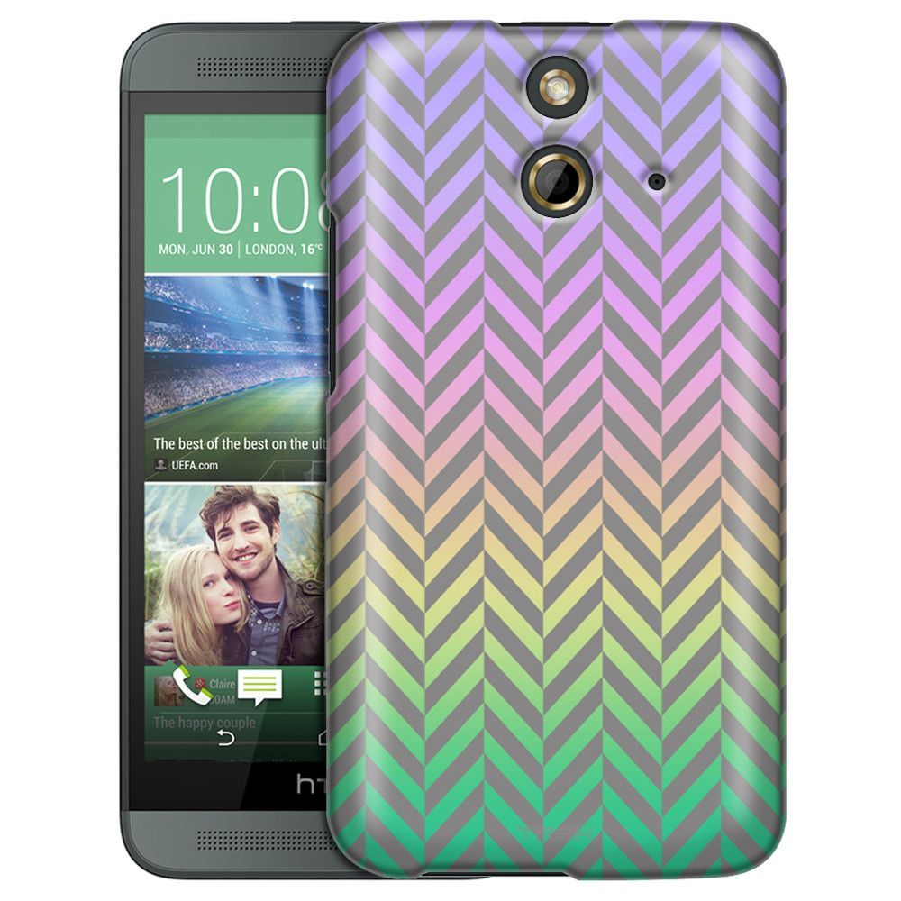 HTC One E8 Rainbow on Chevron Mini Pewter Slim Case