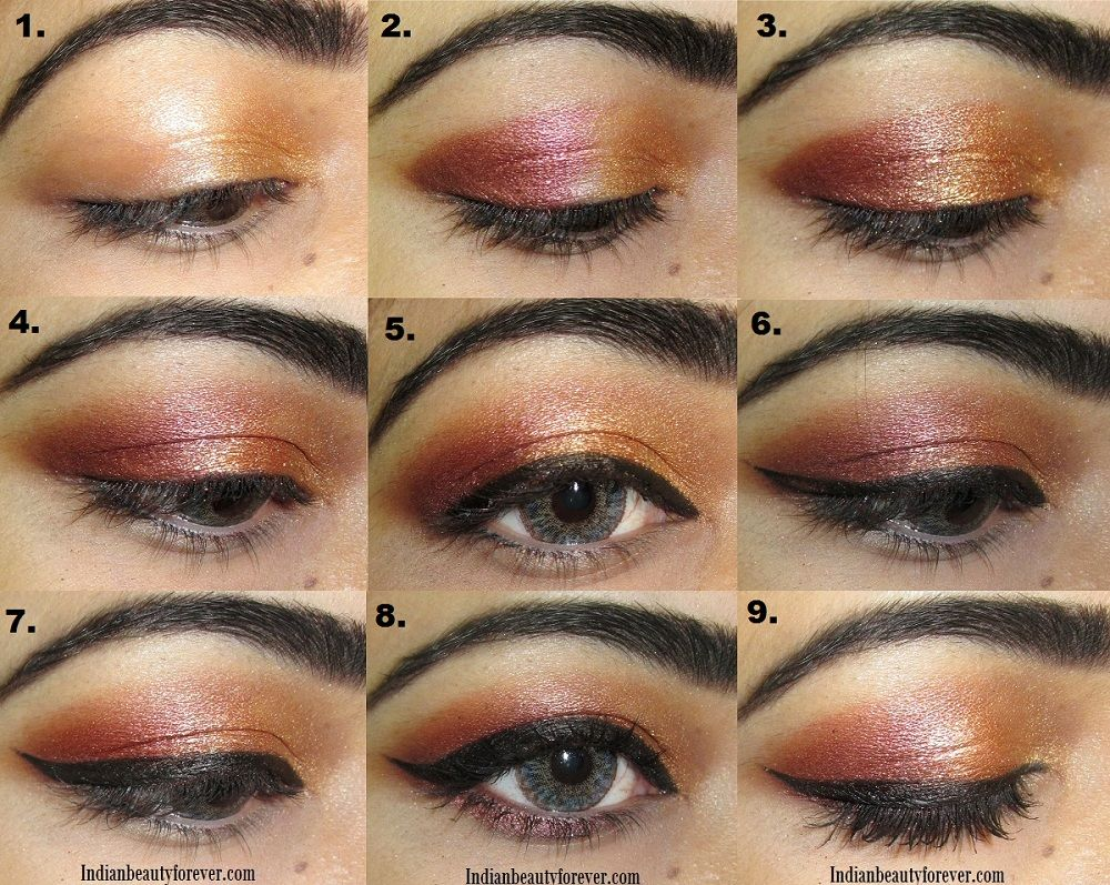 Coppery gold Eye makeup Tutorial for Indian Wear Gold