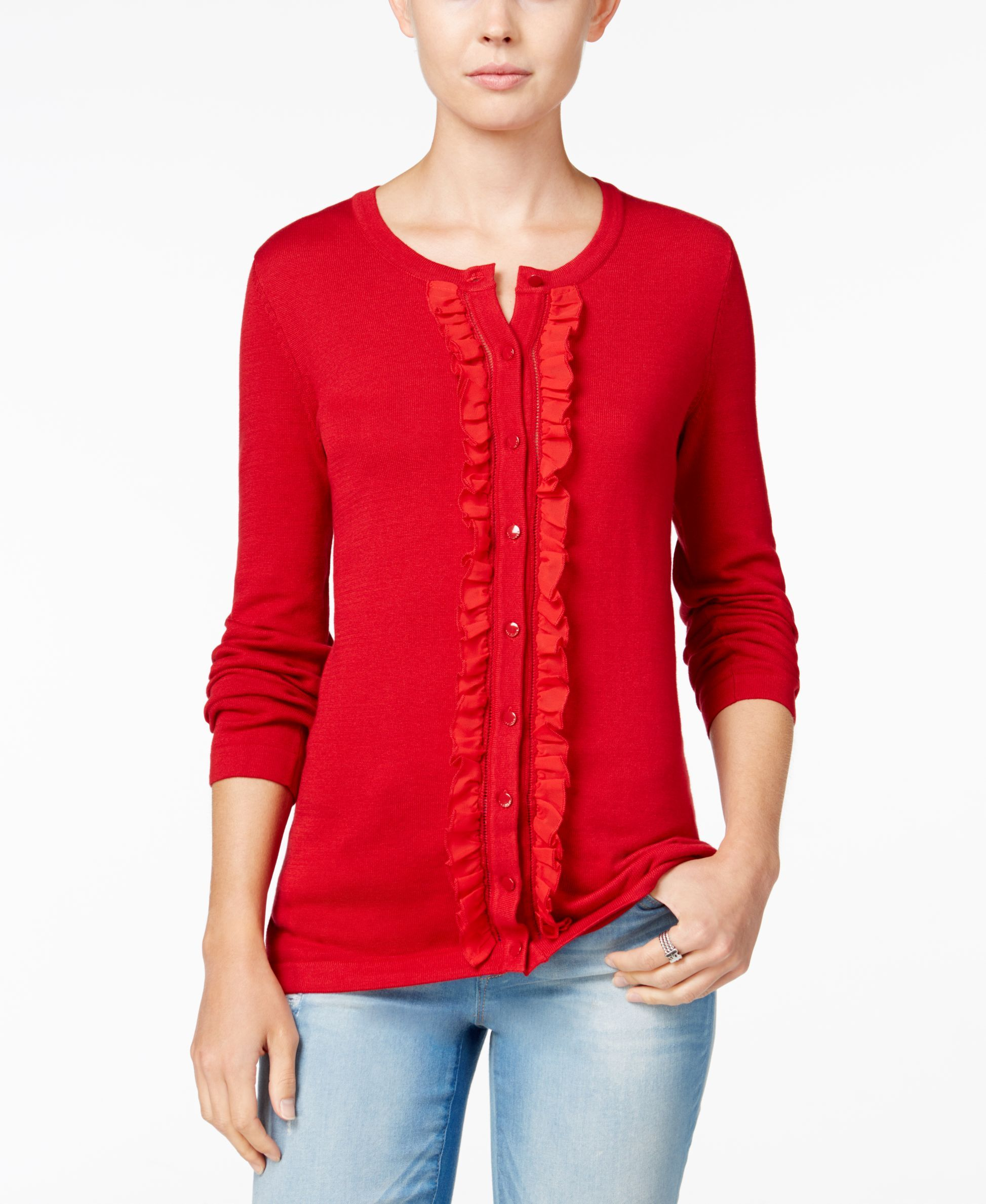 Tommy Hilfiger Kelly Ruffled Cardigan, Only at Macy's