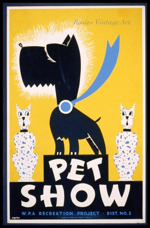 Pet Show - 1930s WPA Poster Art Print - Scotty Dog - Scottish ...