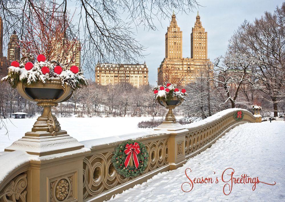 Bow Bridge New York Christmas Card - Discount Greeting Cards | City ...