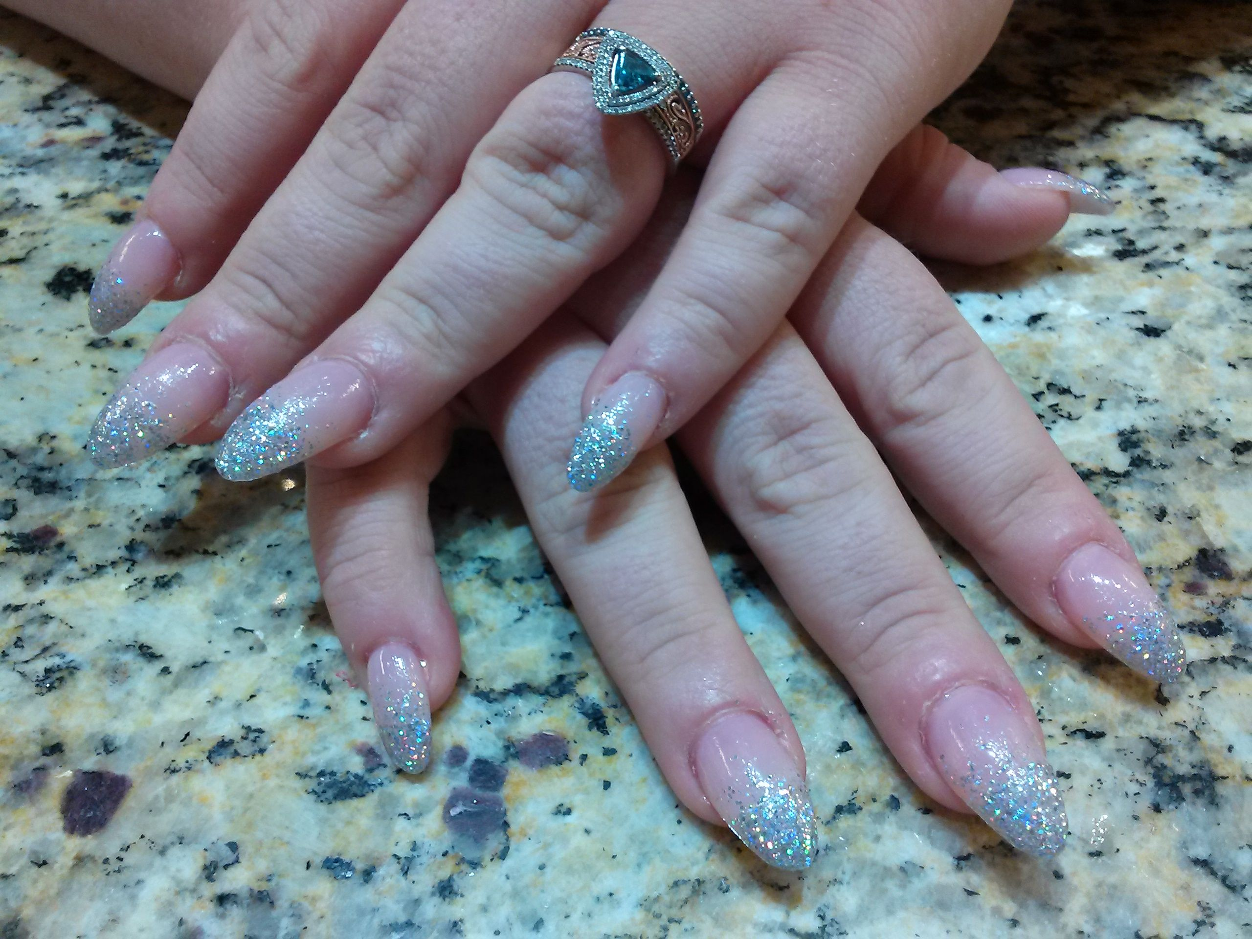 15 Ombr Tipsy Almond Shaped Acrylic Nails With Sheer -9250