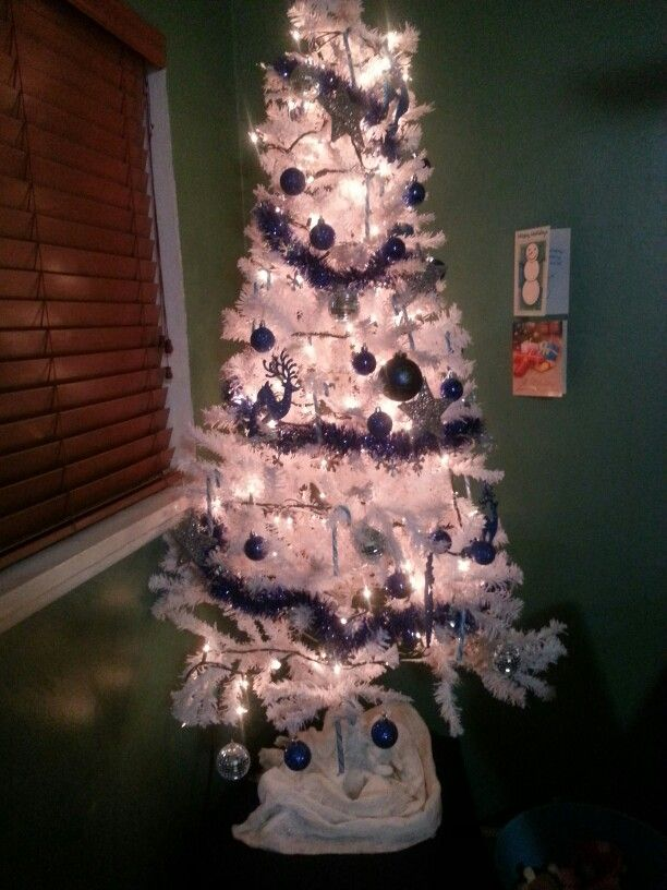 White Christmas Tree in kitchen with decorations and lights $20 tree