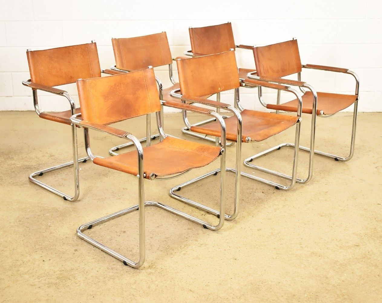 Set of 6 S34 dinner chairs from the seventies by Mart Stam