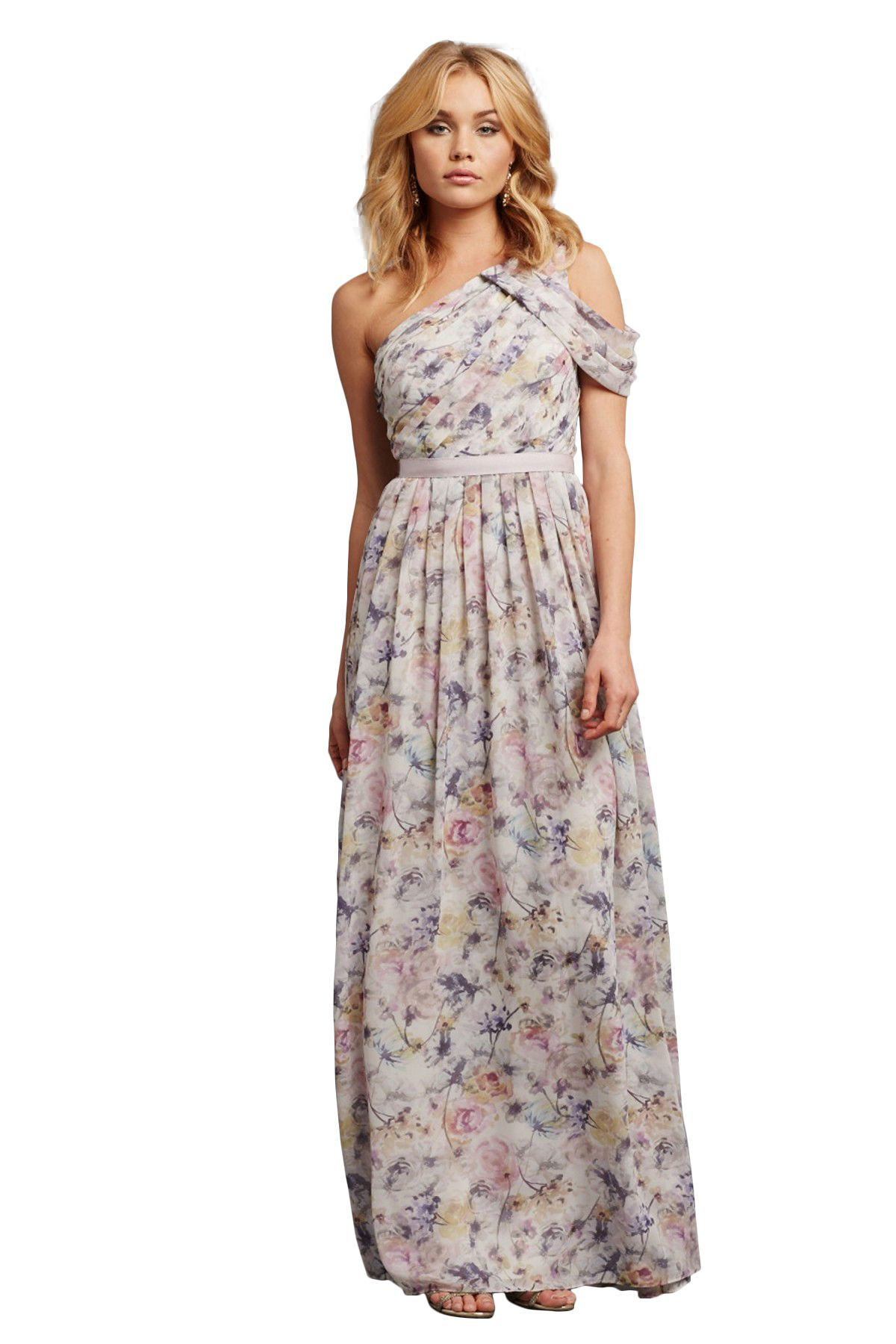 Shop donna morgan quick delivery style chloe printed in poly unique and elegant long pastel floral patterned bridesmaids dress ombrellifo Image collections