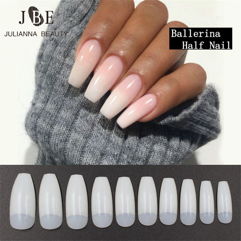 Aliexpress Com Buy 500pcs Professional Fake Nails Long Ballerina Half French Acrylic Nail Tips Square Head Fa Fake Nails Fake Nails Long French Acrylic Nails