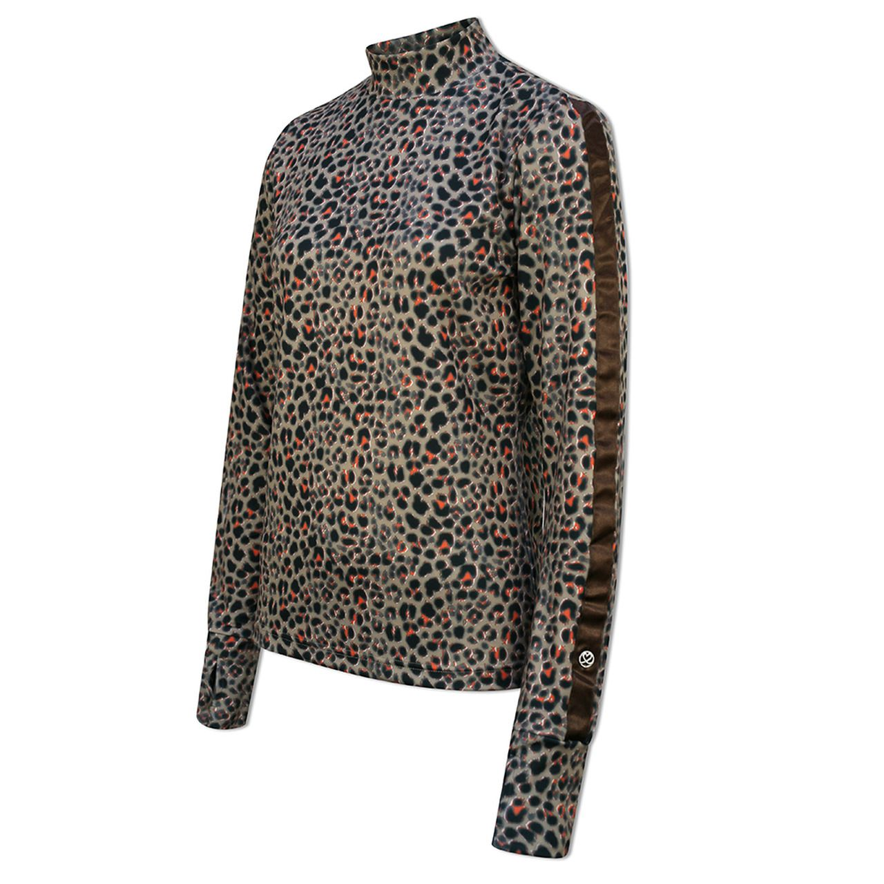 Daily Sports Mock Neck in Almond Animal Print Long