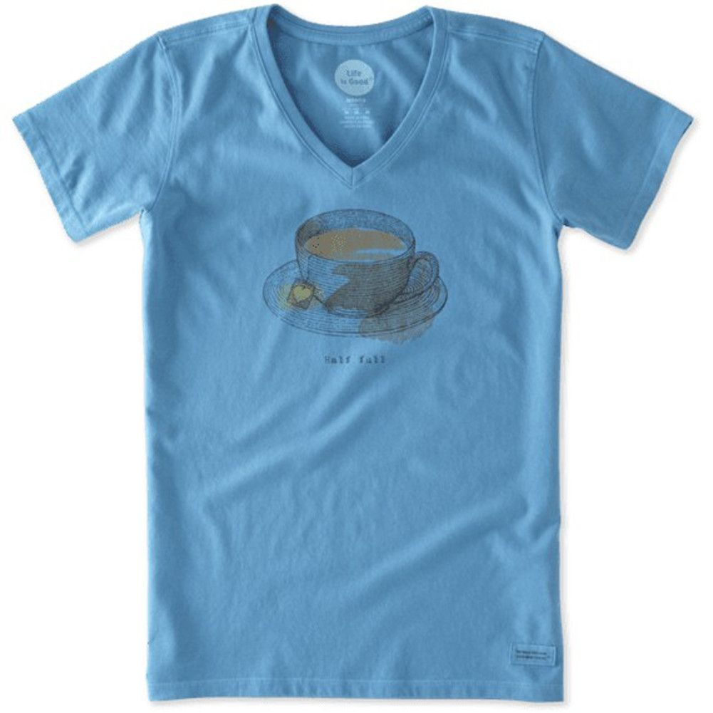 Half Full Tea Cup Crusher T-Shirt by Life is good