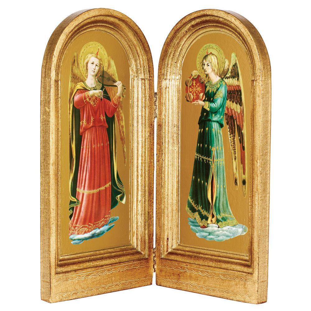 Fra Angelico: Herald Angels Viola and Tambourine Diptych | Fra ...