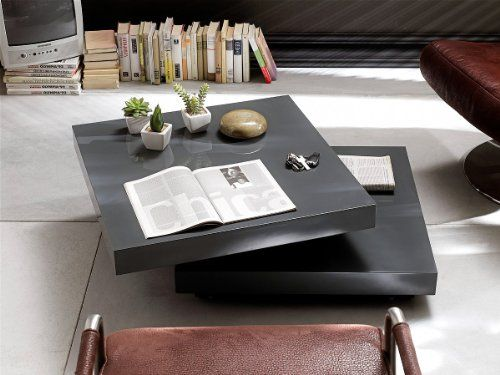 Couchtisch quadro 75x75 hochglanz grau wohnzimmertisch drehbar moderner couchtisch moderner - Wohnzimmertisch groay ...