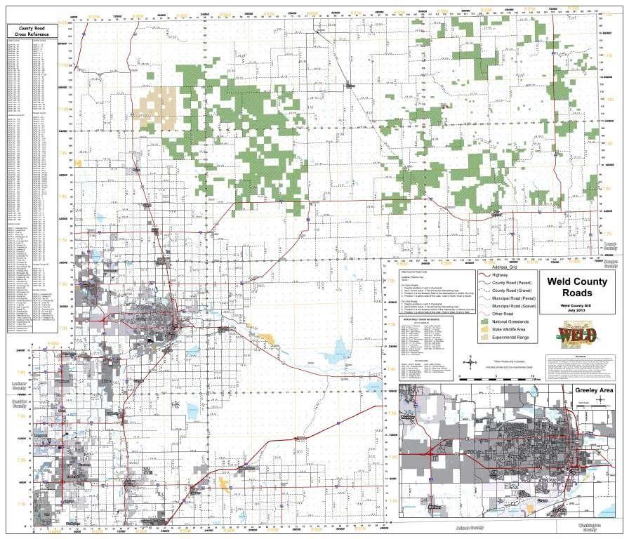 Weld County Colorado Roads Map Colorado Counties Pinterest - Colorado counties map