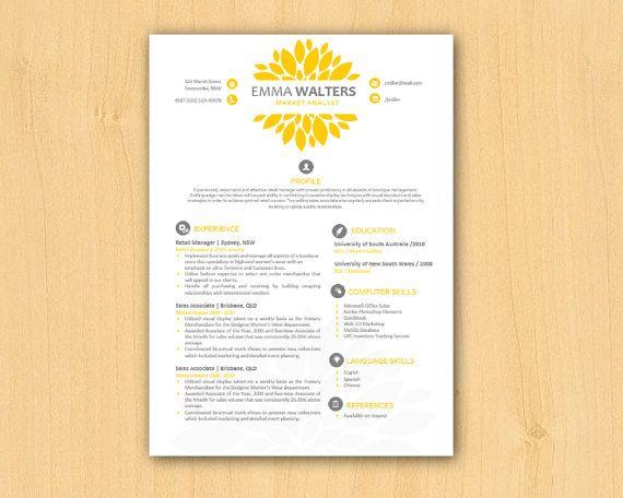 Yellow Chrysanthemum Modern DIY Microsoft Word Resume Template (1 & 2 p),  Resume