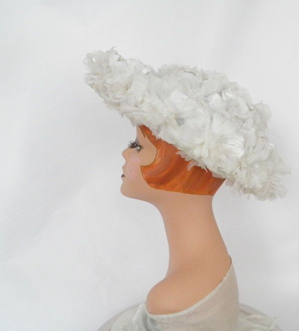 White flower hat, vintage 1960s breton, flowered underbrim by TheVintageHatShop on Etsy