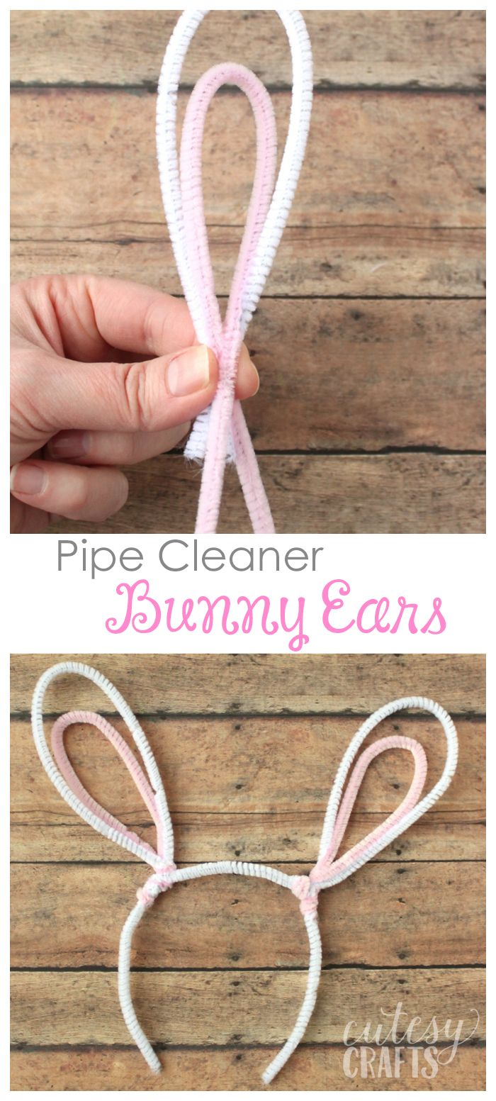 Kids Easter Craft - Pipe Cleaner Bunny Ears - Cutesy Crafts