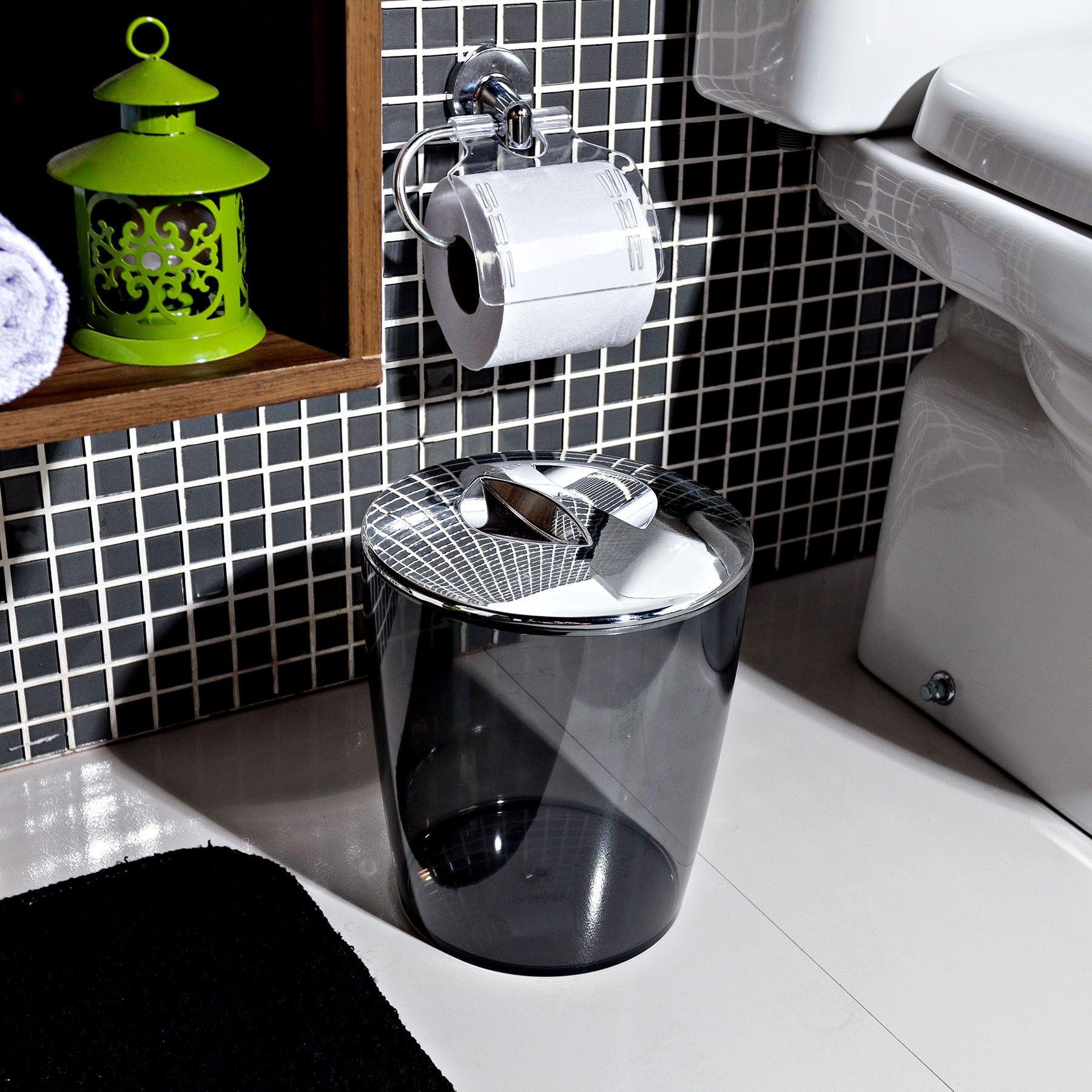 Lixeira De Banheiro Plastico Preto 5l Tampa Martiplast Leroy
