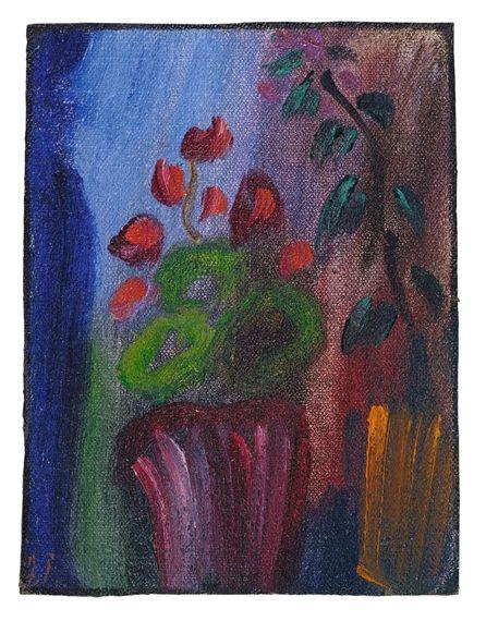 Artwork by Alexej von Jawlensky, Stilleben (Alpenveilchen mit sieben roten Blüten), Made of Oil on canvas, laid down on cardboard