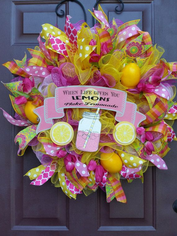Yellow And Pink Lemonade Mesh Wreath Summertime Lemonade Wreath When Life Gives You Lemons