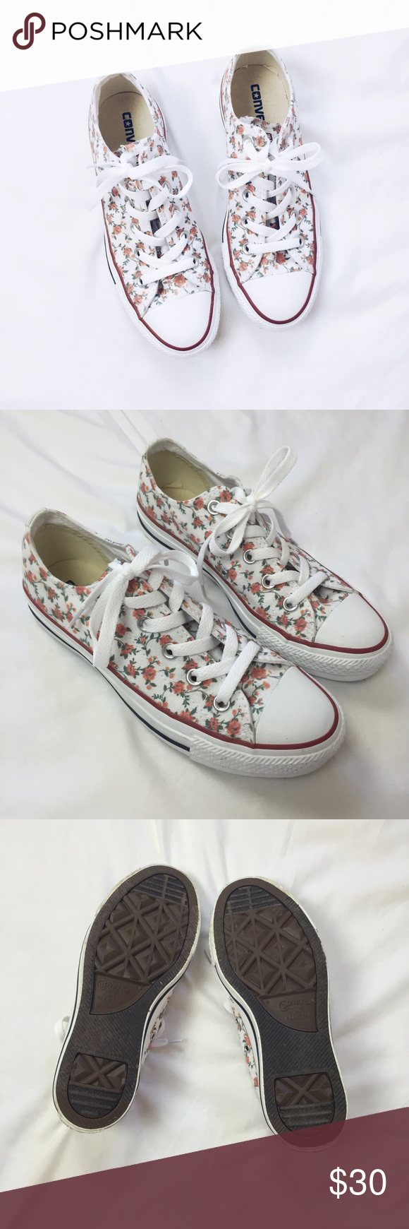 Customized Rose Printed Converse Authentic Converse shoes that are customize printed from qtee.com. Worn outside once but in perfect condition as you can see from the photo of the bottom. Runs true to a women's size 6. Shoes Sneakers