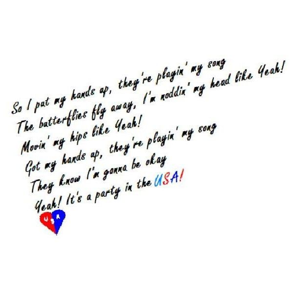 Party In The USA- Miley Cyrus-Lyrics liked on Polyvore
