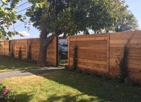 Horizontal Stained Backyard Fence With Black Metal Gate Privacy Fence Designs Wood Privacy