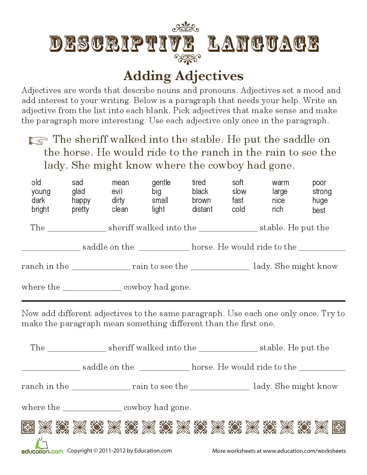 Fun Adjective Worksheets Volume Fun Adjective Exercises in addition  furthermore Descriptive Adjectives  It's All in the Details   Worksheet besides Time to saddle up some adjectives  Descriptive language adds in addition Adjectives Worksheets   Regular Adjectives Worksheets likewise parative And Superlative Degrees Of Adjective Adjectives also Descriptive And Limiting Adjectives Worksheets Exercise 3 Copy All additionally More And Most Adjectives Worksheets About This Worksheet  parative together with Small 1st Grade Adjective Worksheets Kindergarten Worksheets Ideas together with  likewise Adjectives Worksheets Worksheet Descriptive For Grade 3 also Adjectives Worksheets As Well And Amazing Grade 3 – kinchen co furthermore Adjectives Worksheets For Grade 2 Adjectives Worksheets For Grade 2 likewise Easter Adjectives   Free 2nd Grade Grammar Worksheet   JumpStart furthermore Adjective Worksheets together with Adjectives Worksheets   Regular Adjectives Worksheets. on descriptive adjectives worksheet 4th grade