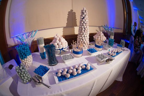 Dessert Table Sweets Table Candy Table Wedding Parties Blue White Silver Donuts Donut Towe Wedding Candy Table Candy Bar Wedding Wedding Dessert Table
