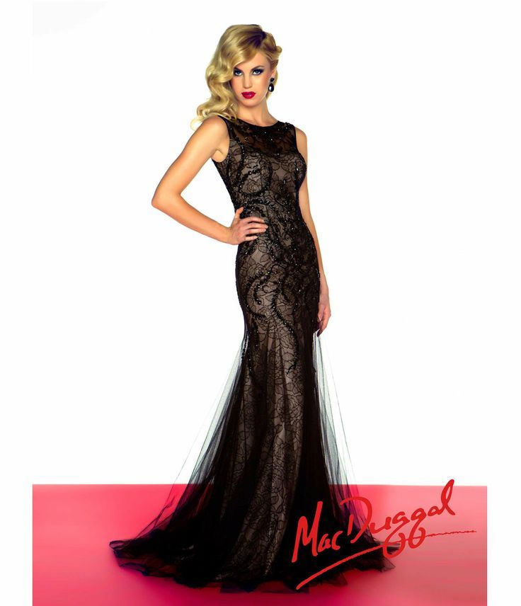Mac Duggal 2014 Prom Dresses - Black Lace & Satin Embellished Prom ...
