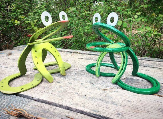 Horseshoe Garden Frog Whimsical Summer Yard Art Gift Idea