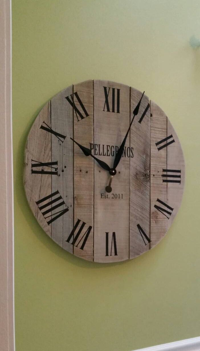 30 Rustic Wall Clock Pallet Clock Large Wall Clock Reclaimed