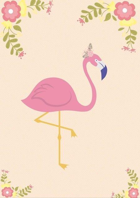 Pôster Grátis Para Imprimir Flamingo Em Flores A4 Em 2020