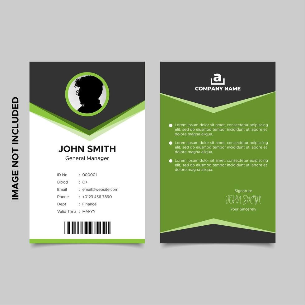 Black And Green Employee Id Card Template Design Download With Template For Id Card Free Down Employee Id Card Id Card Template Business Card Template Design