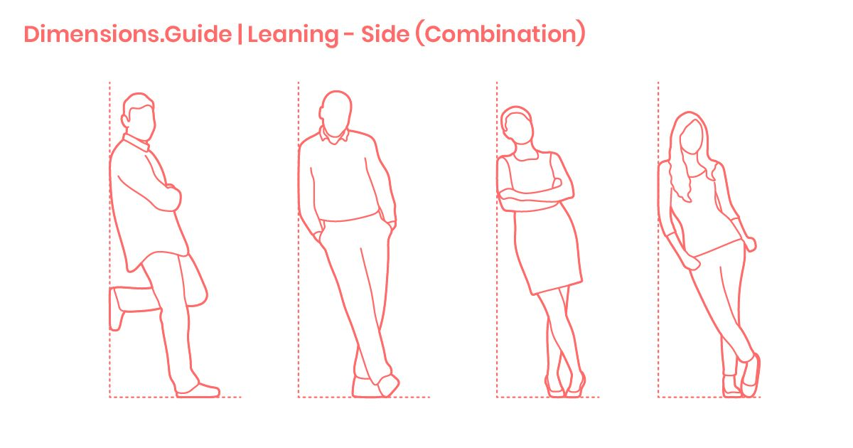 People Leaning On Wall Combination Side Dimensions Drawings Dimensions Guide Sketches Of People Drawings Posture Drawing