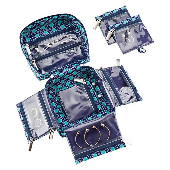 Navy Aqua Tile inbag Large Jewelry Organizer Jewelry storage