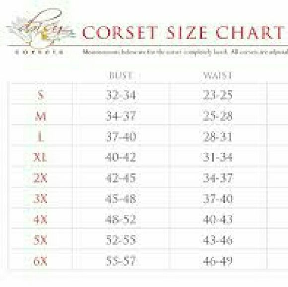 Size charts for shirley hollywood lingerie corset and lingerie size