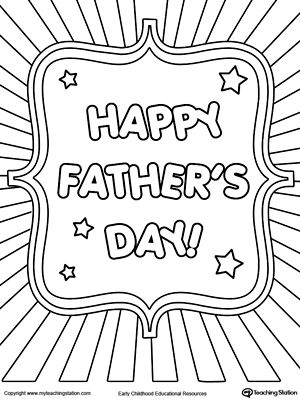 Father's Day Card Burst Coloring Page | Fathers day ...