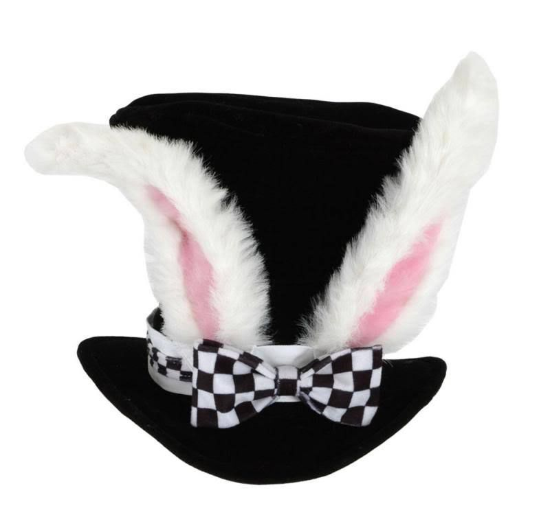 White Rabbit Top Hat With Ears