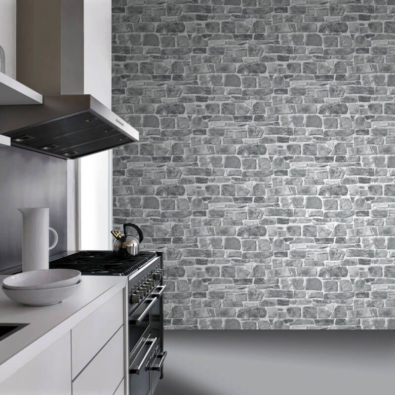 A Modern Twist On Rustic Styling In This Stone Effect Wallpaper From Rasch Rasch Wallpape Stone Wall Interior Living Room Grey Stone Wall Stone Walls Interior