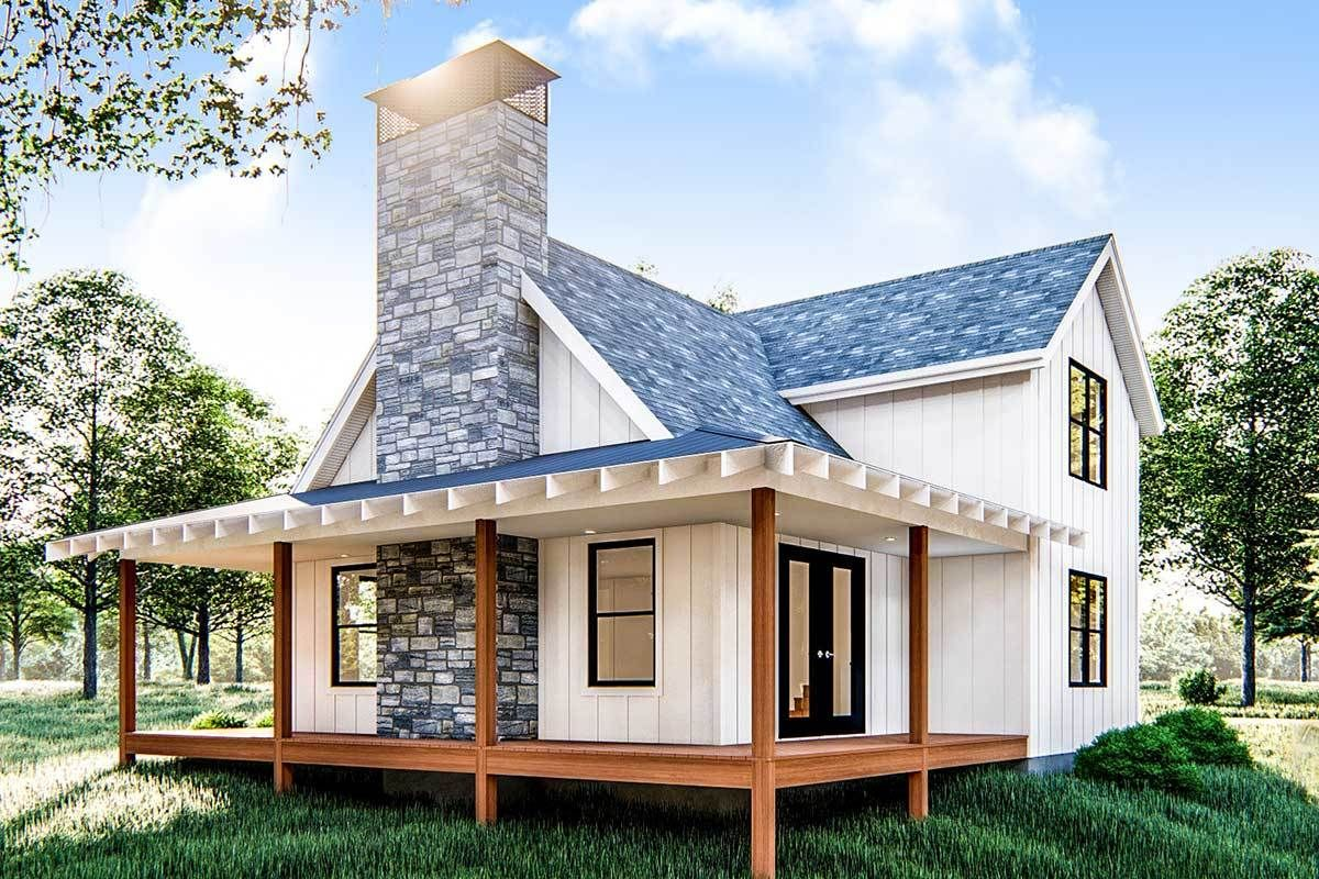 Photo of Plan 62690DJ: Modern Farmhouse Cabin with Upstairs Loft