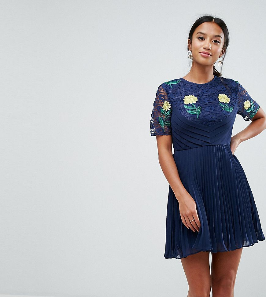 Embroidered Mini Pleat and Lace Dress - Navy Asos Petite lZPogXx6