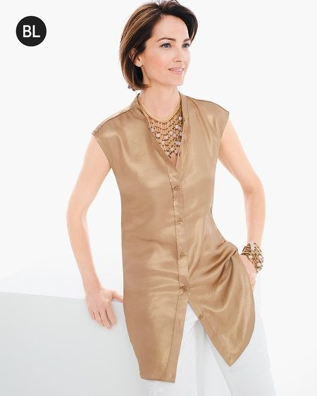 "Make your Saturday night reservation: This metallic, back-twist top has earned a night on the town. It offers perfect sheen and a button closure in the front. From behind? A seductive deep slit that leaves things open before a chic knot at mid-back.    Individual style. Clean, modern lines. The Exclusive Black Label by Chico's™ collection.  Button closure.  Regular length: 31.5"".  Polyester.  Hand wash. Imported."
