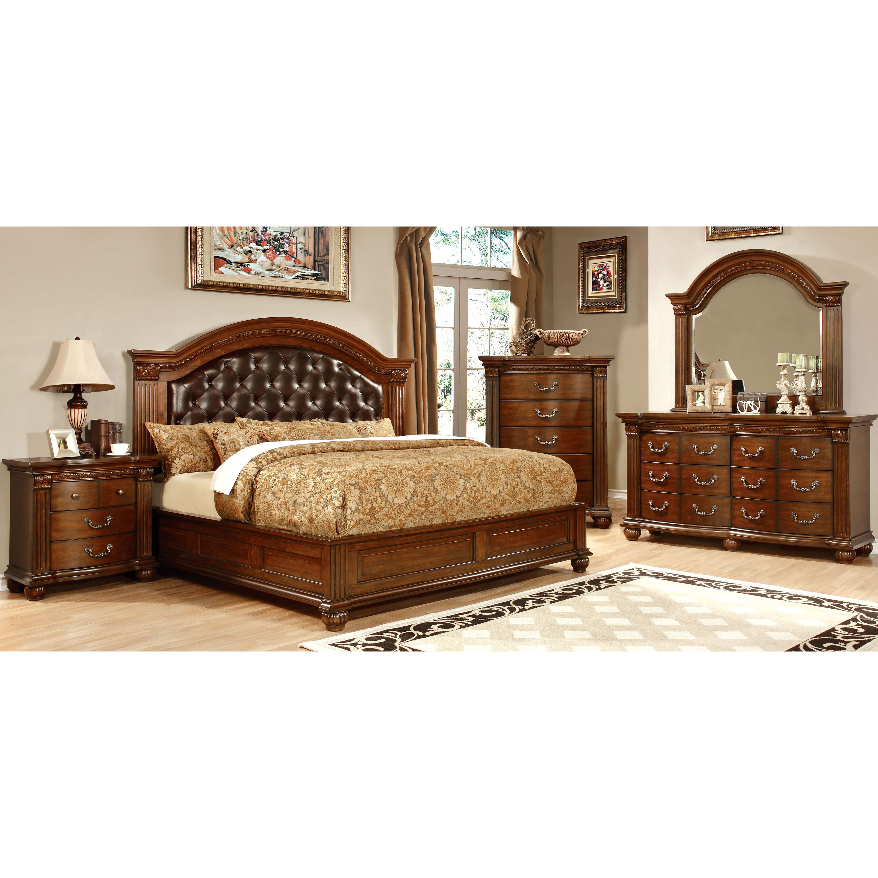 Furniture of America Vayne II 4-Piece Traditional Cherry (Red ...
