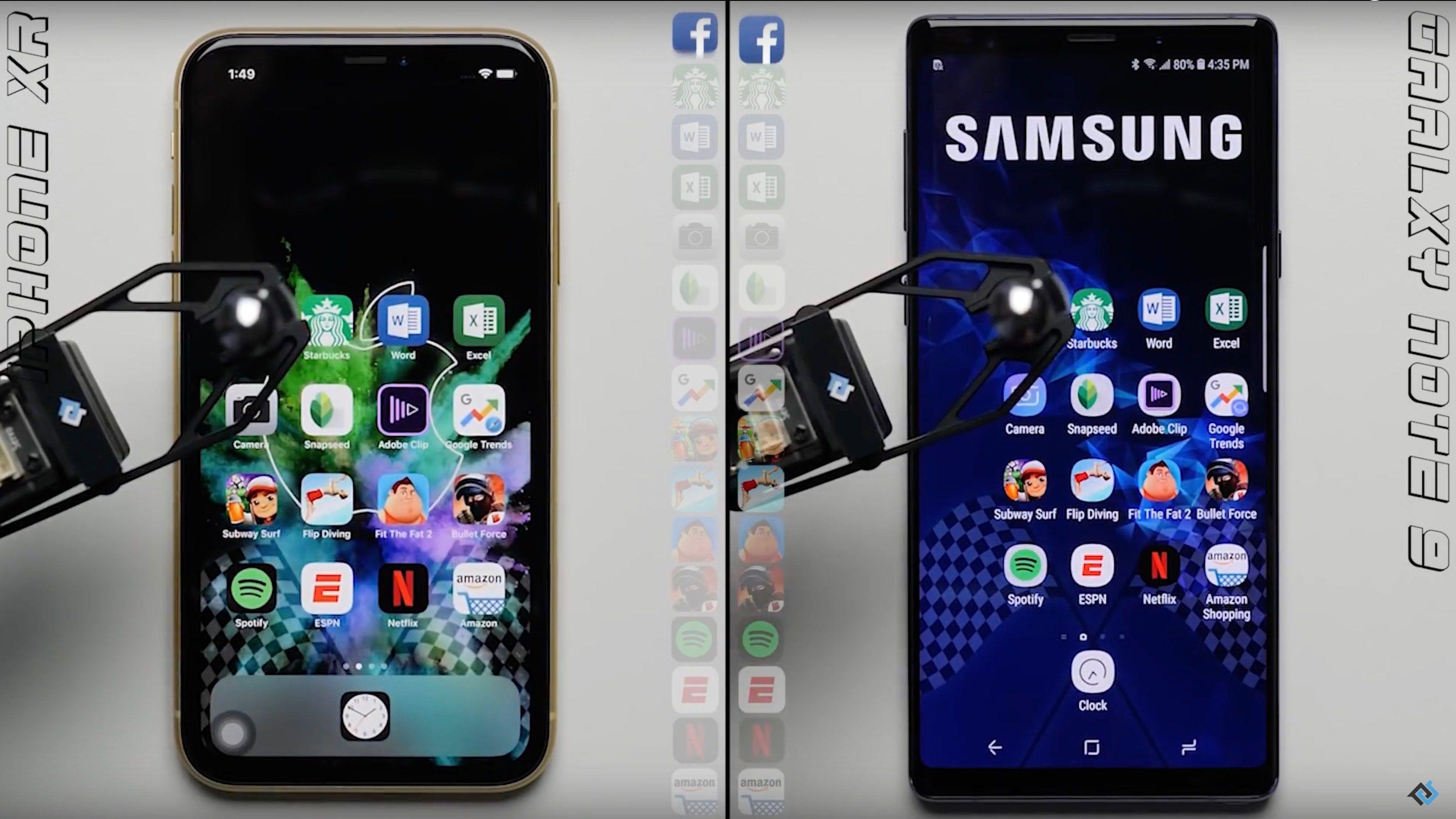بالفيديو مقارنة بين جوالي ايفون Xr وسامسونج Note 9 من حيث السرعة من سينتصر Samsung Galaxy Samsung Galaxy Note 9