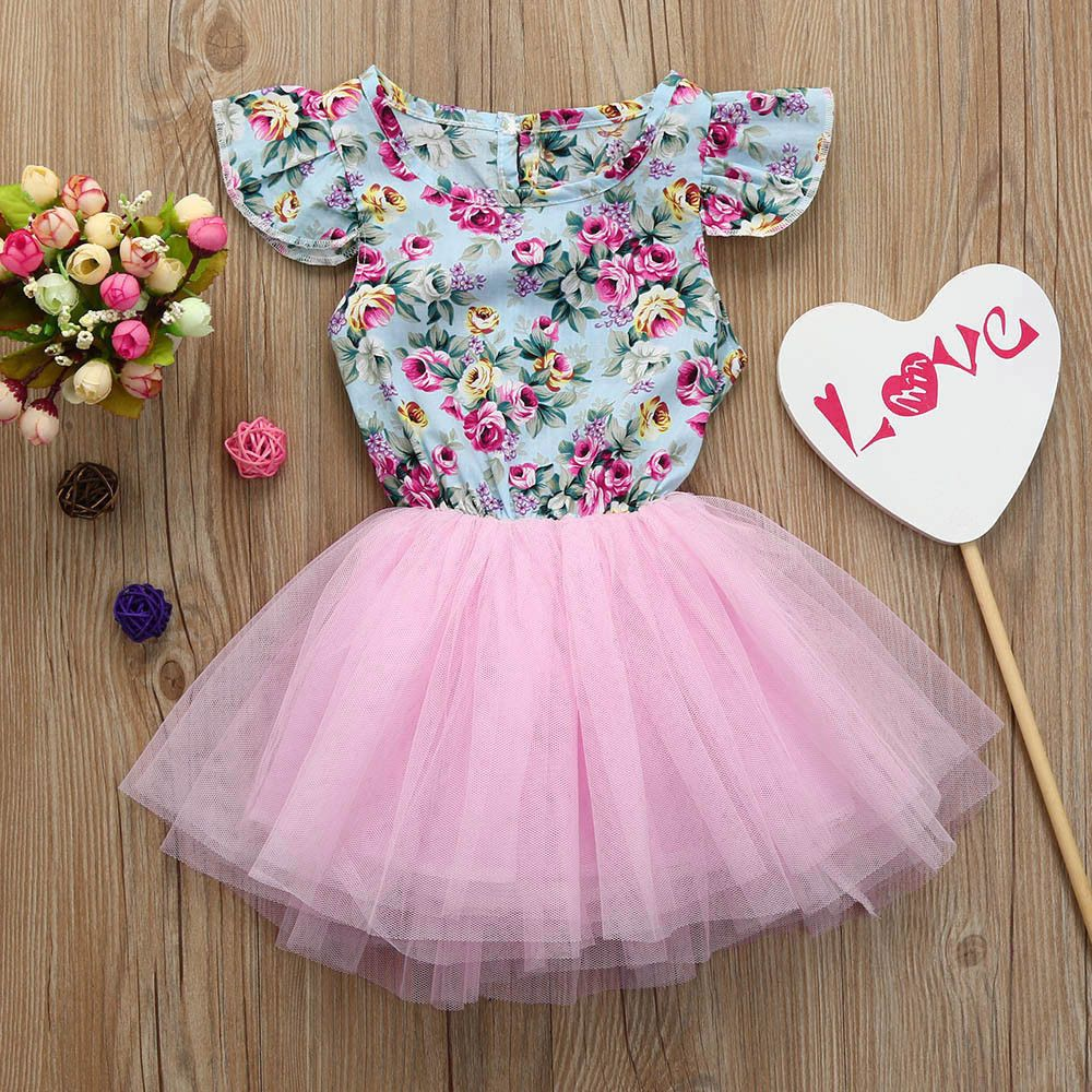 Toddler Kid Baby Girl Clothes Printing Floral Tulle Pageant Party Princess Dress