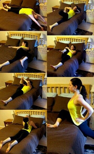 Yoga poses-not the best description, but folowthrough into fluid movements, do before bed.relaxes most muscles used throughout the day, helps calm and relaxation for sleep better