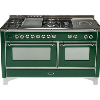 """ILVE 60"""" -  6 Burner Dual Fuel Range + French Top + Griddle - 2 Convection  Ovens Finish: Emerald Green"""
